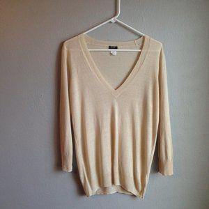 J. CREW Silk Linen V Neck Sweater Sz L EUC